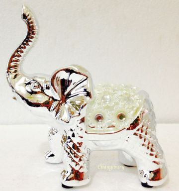 Silver Floral Diamante Elephant Truck Up Figurine Ornament 14cm Tall LP40016
